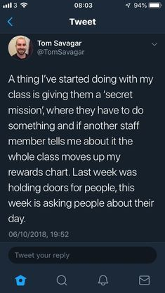 Secret Missions of kindness Instead do secret mission where they have to make a connection between what they're learning in regular class and what they're learning in music. If teacher tells me, the whole class gets another golden wing. Classroom Behavior, Future Classroom, School Classroom, Classroom Ideas, English Teacher Classroom, Classroom Libraries, Primary Classroom, Behaviour Management, Classroom Management