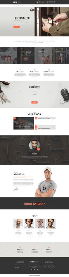 LockTech - Home and Auto Locksmith Service PSD Template #key cutting #Key Duplication #Lock Installation • Download ➝ https://themeforest.net/item/locktech-home-and-auto-locksmith-service-psd-template/21045076?ref=pxcr