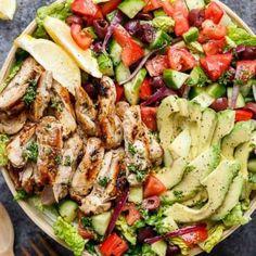 Grilled Lemon Herb Mediterranean Chicken Salad - Cafe Delites Mediterranean Chicken Salad Recipe, Mediterranean Diet Recipes, Chicken Salad Recipes, Chicken Salads, Healthy Chicken, Keto Recipes, Cooking Recipes, Healthy Recipes, Healthy Foods