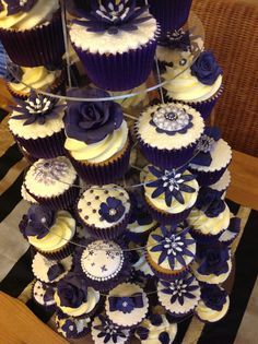 wedding cupcakes navy tower -