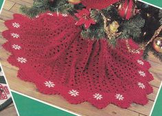 Christmas Tree Skirts Crochet Patterns with Matching Stockings - 6 Designs