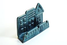 Business card holderpottery card holderrealtor giftteal by Emburr, $21.00