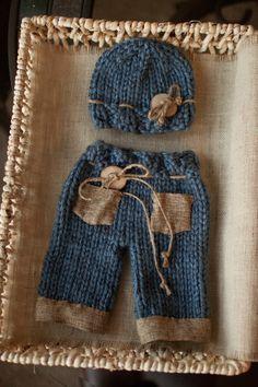 Newborn Boy Pants Blue and Brown Burlap Pants Baby by bluestonesky.