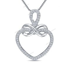 "14K Gold Plated Round Cut Diamond Heart Infinity Pendant 18"" Chain Free Pouch…"