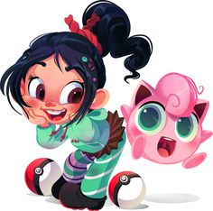 Vanellope (Wreck It Ralph) and Jigglypuff. | When 10 Disney Characters Met Pokémon
