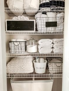 Simple & Easy Small Linen Closet Organization – organizing a tiny hall closet . - Simple & Easy Small Linen Closet Organization – organizing a tiny hall closet with towels and lin - Bathroom Closet Organization, Linen Closet Organization, Closet Storage, Clothing Organization, Small Apartment Organization, Bathroom Storage, Small Linen Closets, Open Closets, Dream Closets