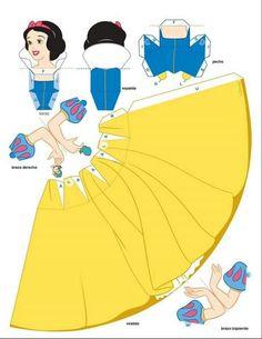 Princesas Disney 3 D Moldes Paper Craft Disney Diy, Disney Crafts, 3d Paper Crafts, Paper Toys, Diy Paper, Disney Paper Dolls, Snow White Birthday, Paper Dolls Printable, Disney Princess Party
