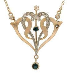 1910s Sapphire Diamond Yellow Gold Necklace | From a unique collection of vintage pendant necklaces at https://www.1stdibs.com/jewelry/necklaces/pendant-necklaces/
