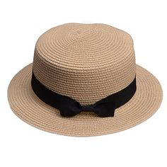 Lawliet Womens Straw Boater Hat Fedora Panama Flat Top Ribbon Summer A456  (Beige) 1940s a3d08d410f2f