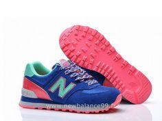 New Balance - 574 - Femme - L'école Primaire Royale Bleu/New Vert-Rose New Balance Femme Pas Cher