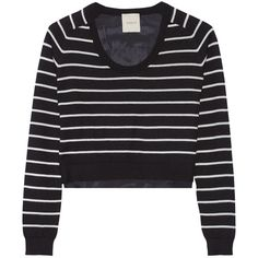 Mason by Michelle Mason Striped cashmere and silk crepe de chine... (255 AUD) ❤ liked on Polyvore featuring tops, sweaters, black, loose crop top, striped cashmere sweater, black cropped sweater, stripe sweater and loose sweater