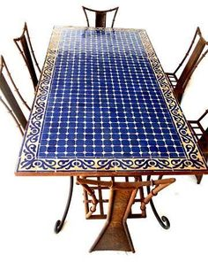 Tangier mosaic table - Patio Table - Ideas of Patio Table - Moroccan dining mosaic table for laundry table maybe use same tile for interior and mosaics as border Mosaic Outdoor Table, Mosaic Tile Table, Outdoor Table Tops, Tile Tables, Mosaic Art, Mosaic Glass, Mosaics, Mosaic Table Tops, Patio Tables