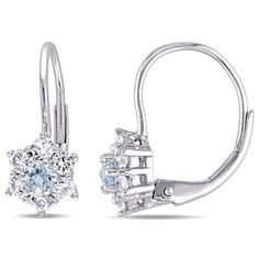 Miadora 10k White Gold Aquamarine and White Sapphire Star Leverback Earrings - Free Shipping Today - Overstock.com - 18445540 - Mobile