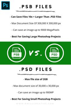 Wonder which type of file is best to save your Photoshop projects? Use this guide comparing PSB and PSD project files to discover which file you should use while working in Photoshop! #SaveInPhotoshop #PhotoshopProjects #PhotoshopFiles #PSBvsPSD #PSD #PSB Photoshop Tutorial, Photoshop Actions, Photography Tutorials, Photography Tips, Profile Website, Photoshop Projects, Edit Your Photos, Photo Tips, Step By Step Instructions
