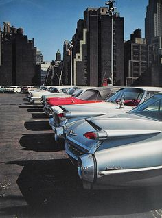 U.S. New York City Early 1960s Rooftop Parking Garage Vintage Cars //  by Christian Montone.