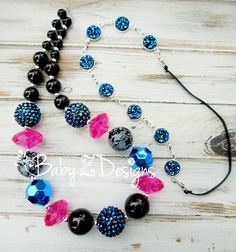 Navy Black and Hot Pink Chunky Necklace and Druzy by babyzdesigns