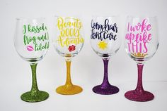 4 Princess Wine Glasses of Your Choice /// Disney Inspired /// Wine Glass