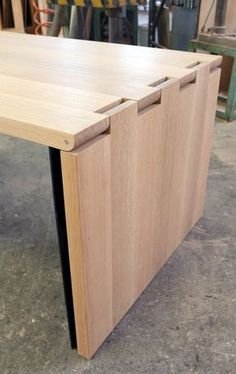 Detail of Hinge Extension Dining Table in White Oak Designed by Alessandro Latini for SOBU