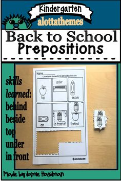 Another low prep hands on product on prepositions with a back to school theme. The cute little pencil is teaching the concepts: top behind beside in front and under. This resource comes in color and b/w printables. Alphabet Activities, Language Activities, Reading Activities, Prepositions, School Themes, Learning Through Play, Math Skills, Kindergarten Activities, Word Work