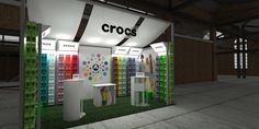 Crocs presentation. Construction using Octanorm Maxima. Designed to travel to multiple shows and be adaptable to various stand space configurations