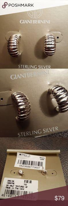 JUST IN🔶️Gianni Bernini Textured Sterling Hoops Sterling silver textured hoops from Giani Bernini. 1/2 inch. Classic back.  NWT. gianni bernini Jewelry Earrings