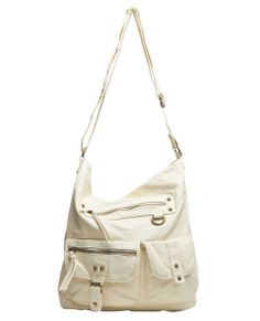 "In all-over distressed faux leather, this versatile hobo bag has a soft, slouchy design with two protruding pockets on the exterior front bottom half, both in different sizes with zipper and snap buttons, and a zippered pocket at the bag top. The purse's crossbody strap is adjustable while the interior snaps closed with a single button, is lined and has a zipper pocket and two open pockets. 13"" Height x 10.75"" Width x 3.5"" Depth ..."