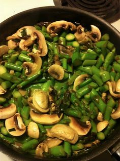 Paleo Asparagus Mushroom Recipe. Delicious, and adding zucchini and broccoli to it made it even better. ~ Lacie ~