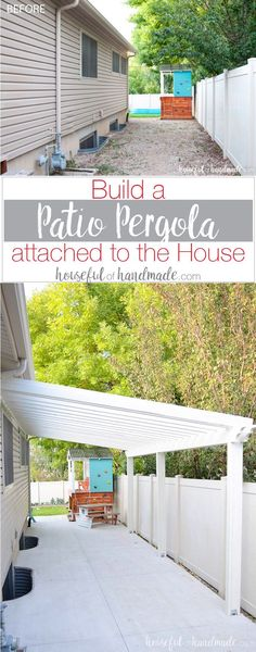 A patio pergola attached to the house is the perfect way to define an outdoor space. And you can build one on a budget in a weekend. See how we built a DIY pergola. Housefulofhandmade.com via @kati_farrer