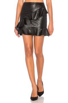 Endless Rose Asymmetrical Ruffle Mini Skirt in Black   REVOLVE