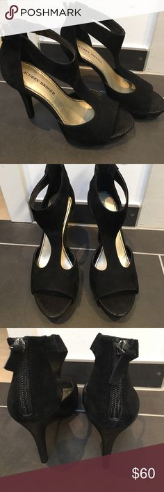 🖤Black Strappy Heels🖤 Offers Welcome‼️ Beautiful Audrey Brooke suede strappy heels, very comfortable and cute! Only worn once to an event. Price is not firm so make me an offer! ❤️ Audrey Brooke Shoes Heels