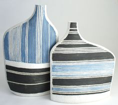 stoneware vessel with slip
