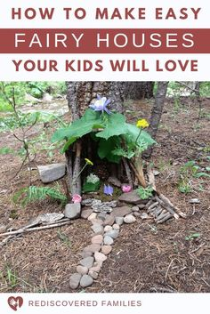 Learn How to Make a Fairy House. This is fun project will keep your kids busy for hours. Simple DIY ideas using natural items or craft stuff you already have. Make magical memories with your children. A great activity for all ages! Forest School Activities, Nature Activities, Kids Outdoor Activities, Outdoor Learning, Summer Activities, Family Activities, Kids Outdoor Crafts, Kids Garden Crafts, Summer Camp Games