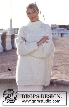 """DROPS 60-21 - DROPS over-sized Sweater in Fisherman's rib and with raglan in """"Lima"""" - Free pattern by DROPS Design"""