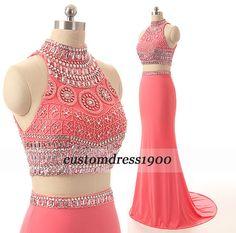 Handmade beading/crystal chiffon prom dress,long prom dress,bridesmaid dress,party dress,pink mermaid formal women evening dress