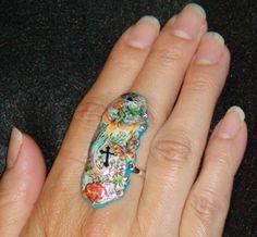 TATTOO ART Big Cocktail RING Big Rock by BohoGypsyDesigns on Etsy, $47.99