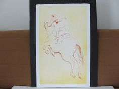 For your consideration is a Lovely,Vintage- LASZLO DUS - Man on Horse- 1976 Original Colorful Lithograph Limited Edition Numbered 138 of 300 Pencil