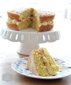 The Crazy Kitchen: Jam and Custard Sandwich Cake Sandwich Cake, Sandwiches, Afternoon Tea Cakes, Crazy Kitchen, Rhubarb And Custard, British Baking, Buttercream Cake, Everyday Food, Bread Baking