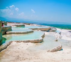 Trip to #Pamukkale is unthinkable without walking on the side of a mountain covered with deposits of calcium.
