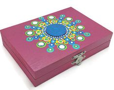 Mandala Designs© carnival bright colored dot paint wood god box with lid NA AA recovery gift serenity prayer chip sobriety birthday Inside The Box, Serenity Prayer, Box With Lid, Mandala Coloring, Wooden Boxes, Painting On Wood, Great Gifts, Decorative Boxes, Dots