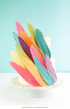 Brushstroke Cake - how to make a Kalabasa inspired feather cake using candy melts and everyday tools | by Erin Gardner for TheCakeBlog.com