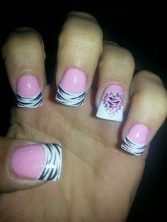 Zebra nails. Pink white black. Valentine's nails. Nail design. Diamonds.