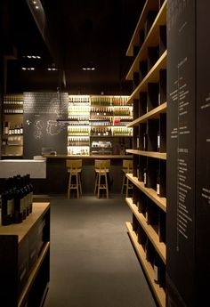 View of The Minimalist Wine Bar. i do not drink wine, but could definitely go there! Decoration Restaurant, Deco Restaurant, Restaurant Interior Design, Bar A Vin, Café Bar, Wine Display, Shelf Display, Lokal, Liquor Store