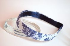 Toile Fabric headband Blue and White Preppy Fits Girls or Ladies