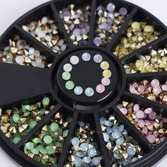 1 caja de colores sharp inferior rhinestone 3d decoración de uñas 2.5mm ópalo de manicura de uñas decoración del arte