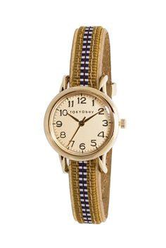 TOKYObay Obi Cuff Watch. Full Number Dial with Japanese Woven SIlk Obi Cord Slide Through Strap.