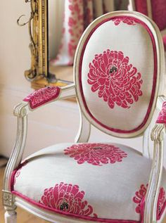 ♥pink and white arm chair