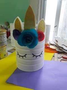 Unicorn party decor centerpiece for utensils maybe. Made out of a tin can! Unicorn Birthday Parties, Birthday Fun, Unicorn Centerpiece, Diy And Crafts, Crafts For Kids, Unicorn Crafts, Childrens Party, Diy Party, First Birthdays