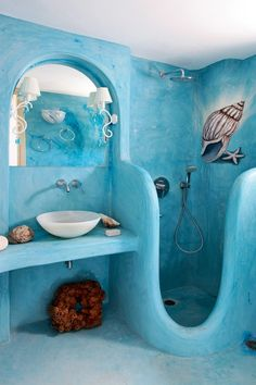 Interior and Decor , Nautical Theme For Bathroom : Unusual Nautical Theme Bathroom With Walk In Shower And Vessel Sink With All Blue Color. Painted roof though too