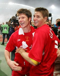 Midfield maestros Xabi Alonso and Steven Gerrard take in the atmosphere after Liverpool win the European Cup in Istanbul