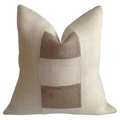 Bring natural appeal to your bed or favorite reading nook with this eco-friendly burlap pillow, featuring a feather-down fill and color-blocked design. Made ...